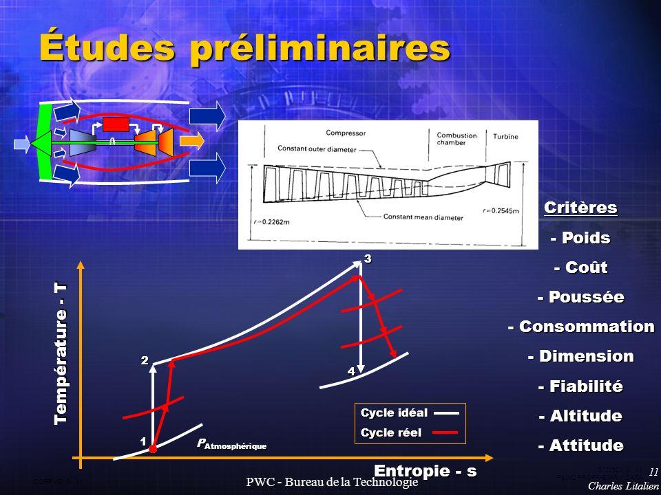 CORP VG G 11 5722520 G 11 P&WC PROPRIETARY DATA 11 Charles Litalien PWC - Bureau de la Technologie Études préliminaires Température - T Entropie - s P Atmosphérique Cycle idéal Cycle réel 1 2 3 4 Critères - Poids - Coût - Poussée - Consommation - Dimension - Fiabilité - Altitude - Attitude