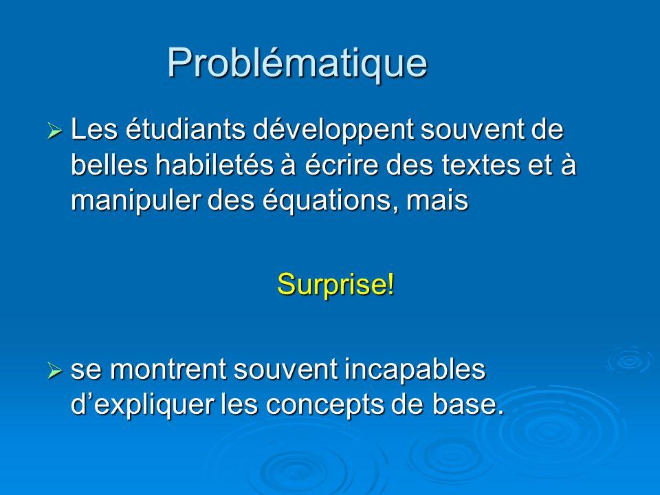 Problématique Les étudiants développent souvent de belles habiletés à écrire des textes et à manipuler des équations, mais Les étudiants développent s