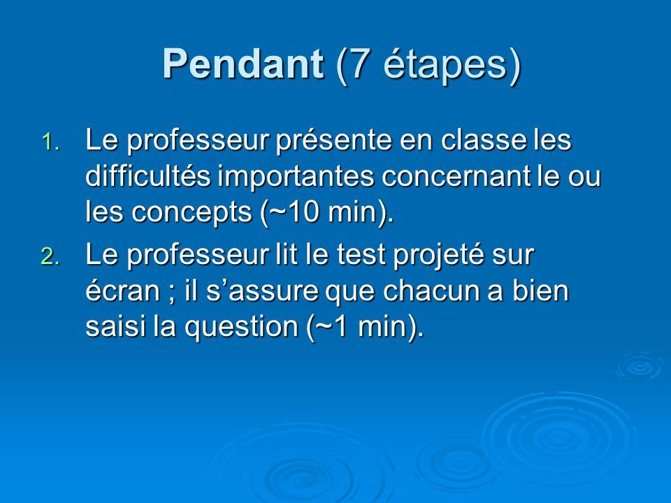 Pendant (7 étapes) Pendant (7 étapes) 1. Le professeur présente en classe les difficultés importantes concernant le ou les concepts (~10 min). 2. Le p