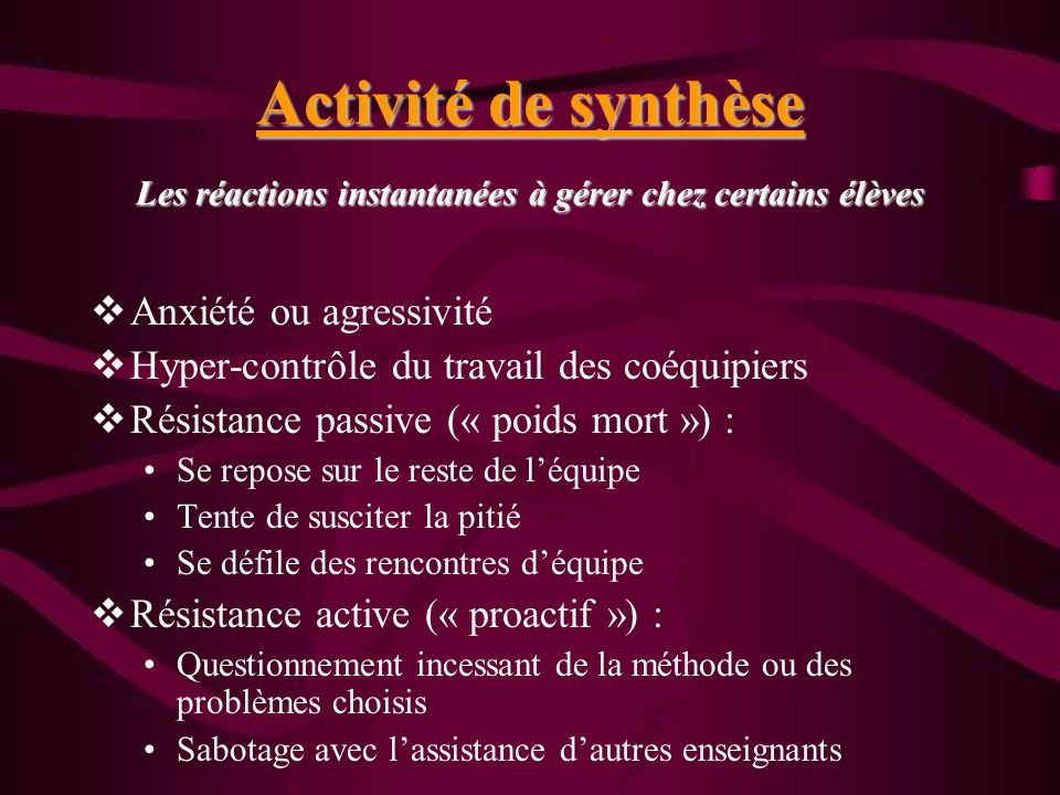 Activité de synthèse Les réactions instantanées à gérer chez certains élèves Anxiété ou agressivité Hyper-contrôle du travail des coéquipiers Résistan