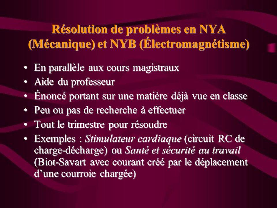 Résolution de problèmes en NYA (Mécanique) et NYB (Électromagnétisme) En parallèle aux cours magistrauxEn parallèle aux cours magistraux Aide du profe