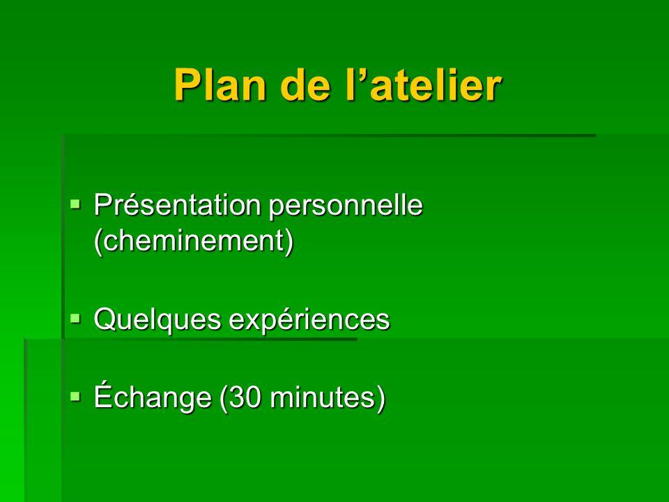 Plan de latelier Présentation personnelle (cheminement) Présentation personnelle (cheminement) Quelques expériences Quelques expériences Échange (30 minutes) Échange (30 minutes)