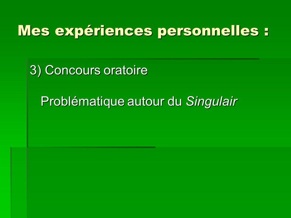 Mes expériences personnelles : 3) Concours oratoire Problématique autour du Singulair
