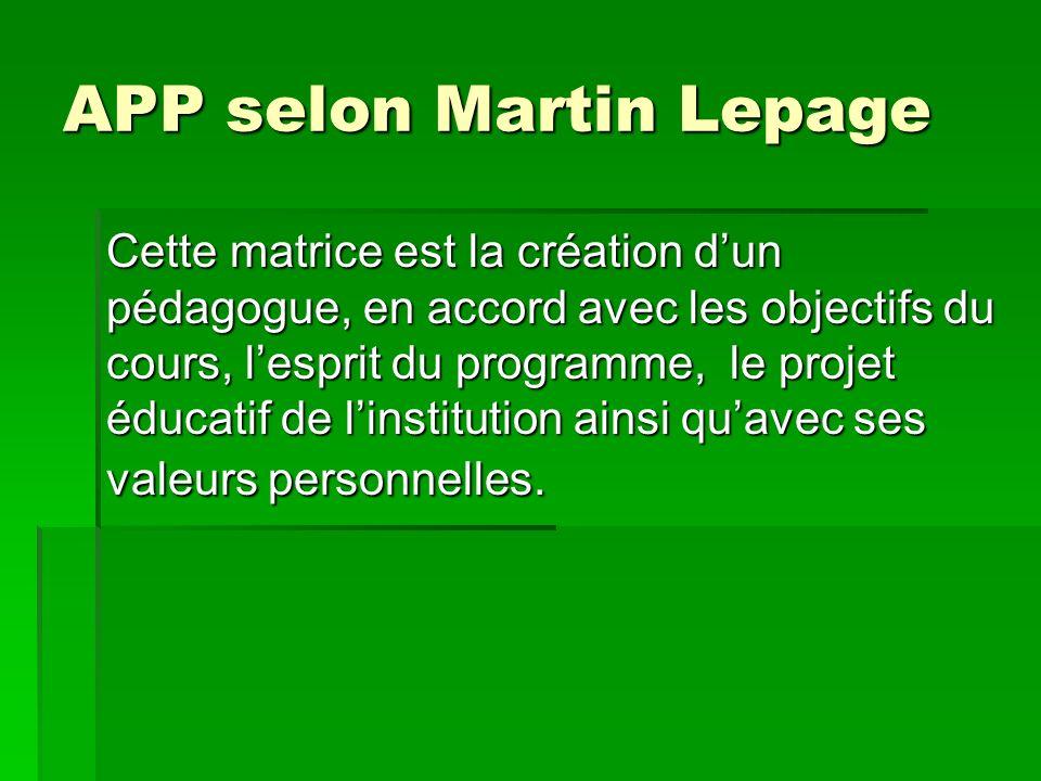 APP selon Martin Lepage Cette matrice est la création dun pédagogue, en accord avec les objectifs du cours, lesprit du programme, le projet éducatif de linstitution ainsi quavec ses valeurs personnelles.