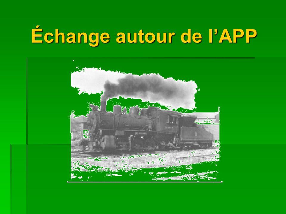 Échange autour de lAPP