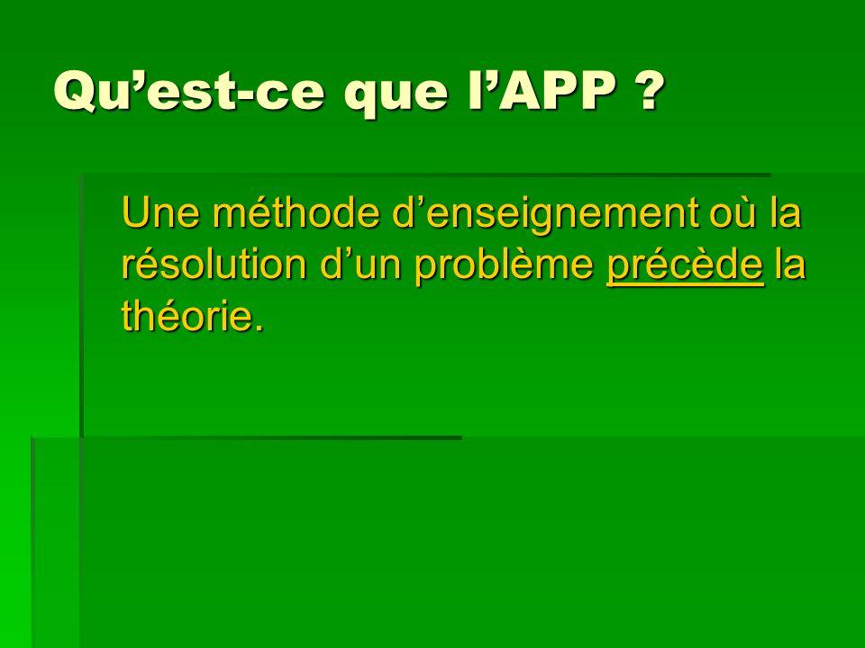 Quest-ce que lAPP Une méthode denseignement où la résolution dun problème précède la théorie.