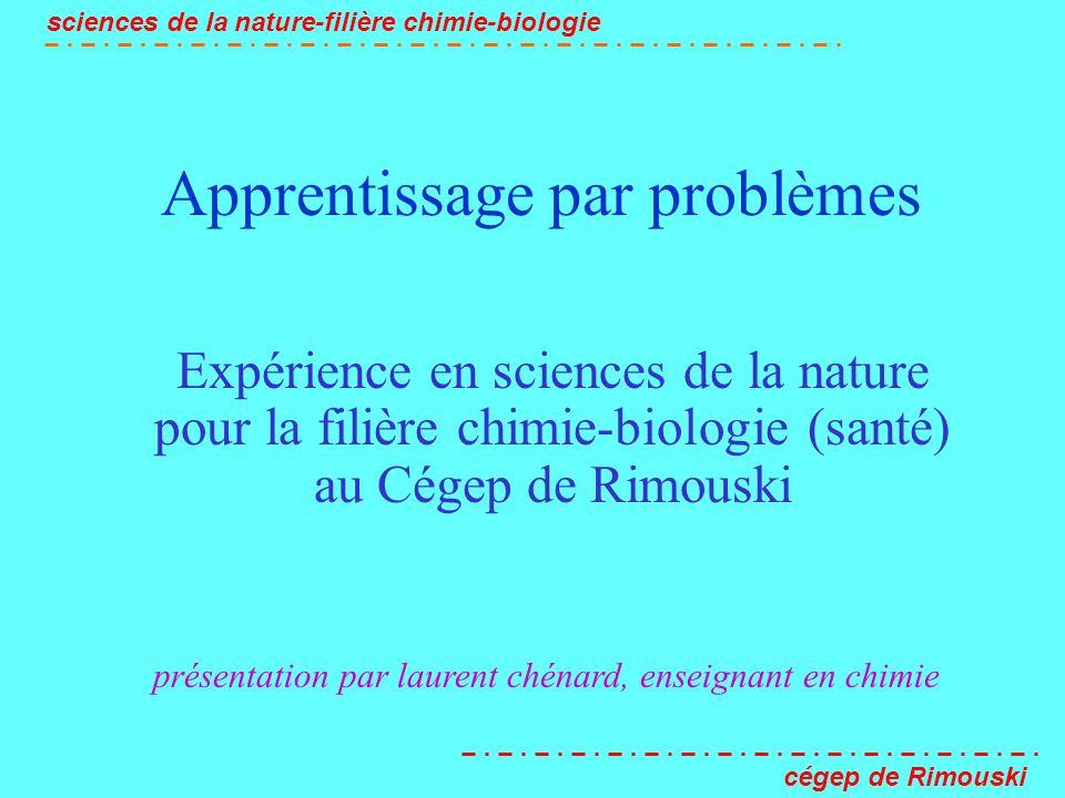 Apprentissage par problèmes (APP) sciences de la nature-filière chimie-biologie cégep de Rimouski La petite histoire du projet 1994- un nouveau programme en sciences de la nature .