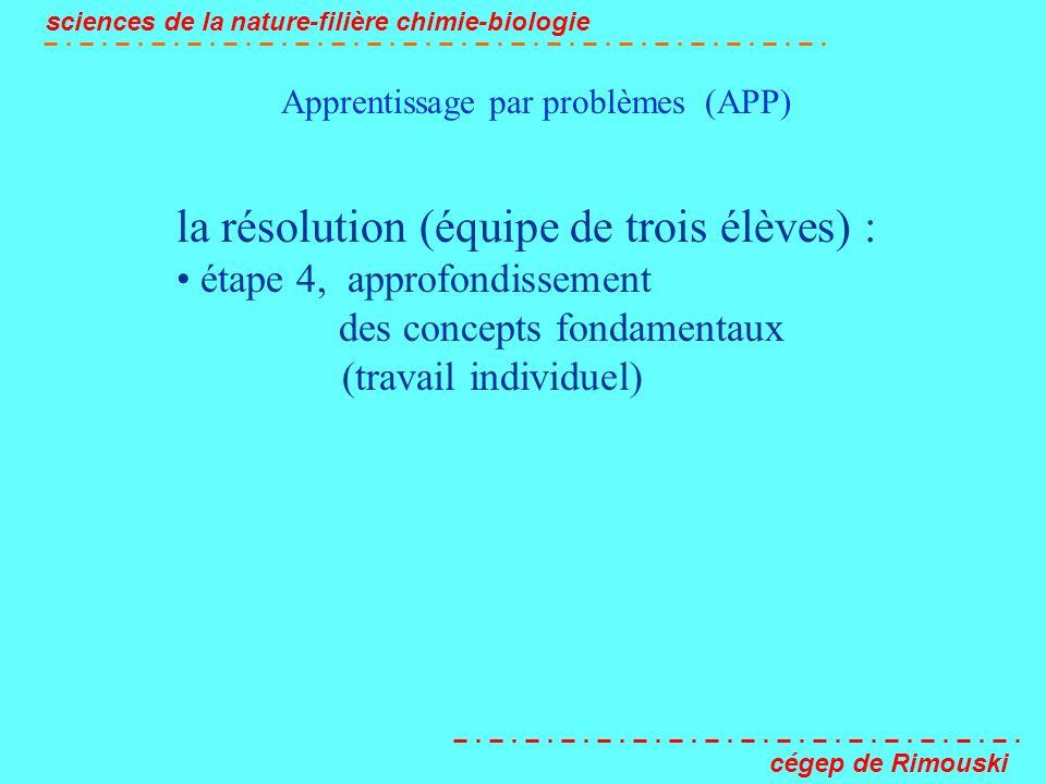 Apprentissage par problèmes (APP) sciences de la nature-filière chimie-biologie cégep de Rimouski la résolution (équipe de trois élèves) : étape 4, ap