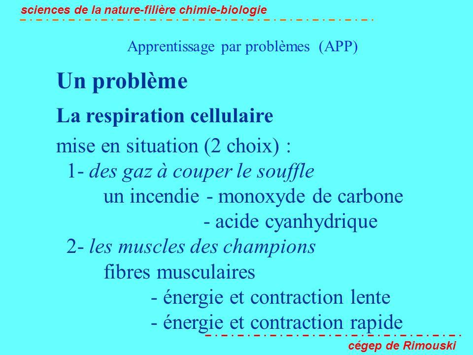 Apprentissage par problèmes (APP) sciences de la nature-filière chimie-biologie cégep de Rimouski Un problème La respiration cellulaire mise en situat