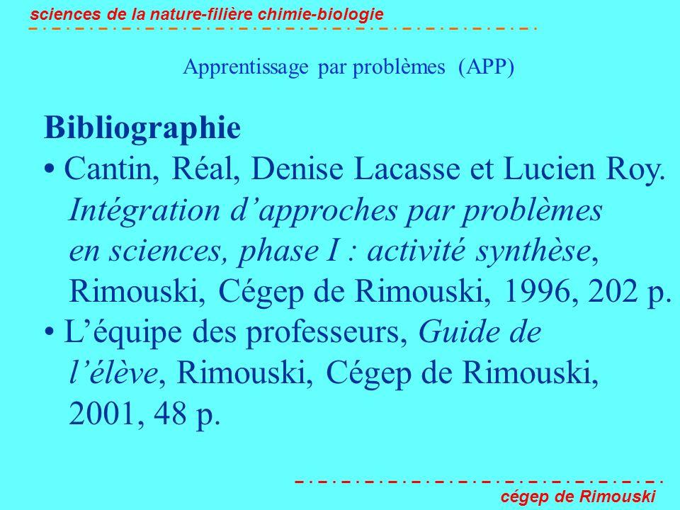 Apprentissage par problèmes (APP) sciences de la nature-filière chimie-biologie cégep de Rimouski Bibliographie Cantin, Réal, Denise Lacasse et Lucien