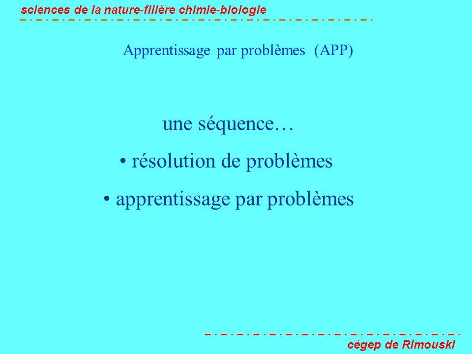 Apprentissage par problèmes (APP) sciences de la nature-filière chimie-biologie cégep de Rimouski Approche sur les quatre sessions - session 1 * chimie NYA - problème (stœchiométrie) - imaginer une expérience - session 2 * biologie NYA - recherche (équipe de 3) (sujet relié au cours) présentation PowerPoint - session 3 * biologie FEG - conférence scientifique externe (concepts) * chimie FEG - problème (protocole de laboratoire) - schéma de concepts - session 4 * activité synthèse