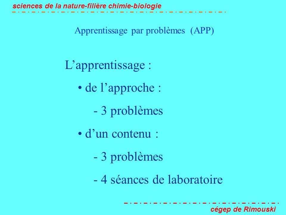 Apprentissage par problèmes (APP) sciences de la nature-filière chimie-biologie cégep de Rimouski Lapprentissage : de lapproche : - 3 problèmes dun co
