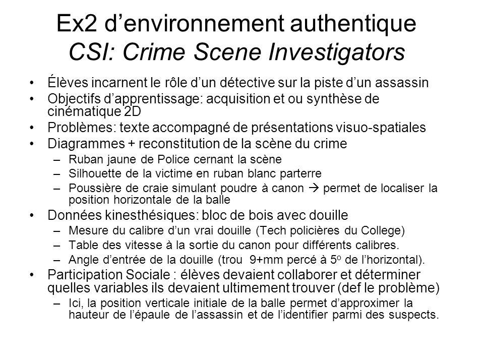 Ex2 denvironnement authentique CSI: Crime Scene Investigators Élèves incarnent le rôle dun détective sur la piste dun assassin Objectifs dapprentissag