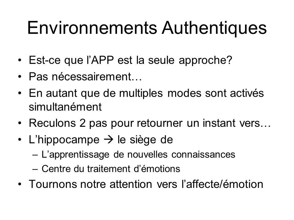 Environnements Authentiques Est-ce que lAPP est la seule approche? Pas nécessairement… En autant que de multiples modes sont activés simultanément Rec