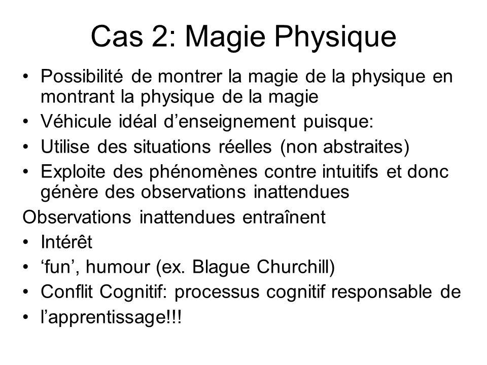 Cas 2: Magie Physique Possibilité de montrer la magie de la physique en montrant la physique de la magie Véhicule idéal denseignement puisque: Utilise