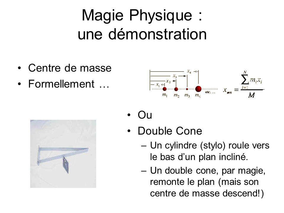 Magie Physique : une démonstration Centre de masse Formellement … Ou Double Cone –Un cylindre (stylo) roule vers le bas dun plan incliné. –Un double c