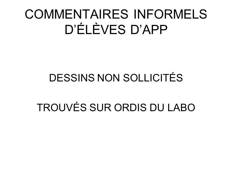 COMMENTAIRES INFORMELS DÉLÈVES DAPP DESSINS NON SOLLICITÉS TROUVÉS SUR ORDIS DU LABO