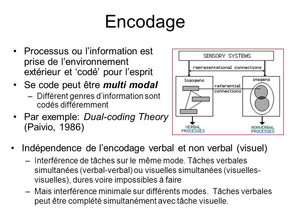 Encodage Indépendence de lencodage verbal et non verbal (visuel) –Interférence de tâches sur le même mode. Tâches verbales simultanées (verbal-verbal)