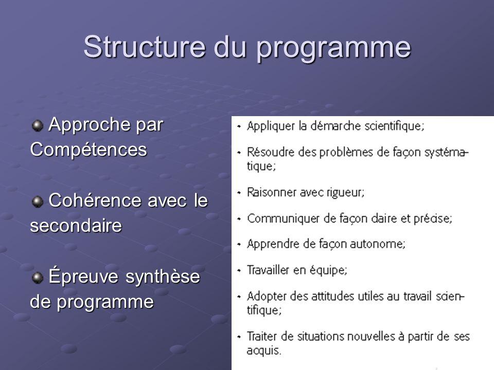 Structure du programme Approche par Compétences Cohérence avec le secondaire Épreuve synthèse de programme