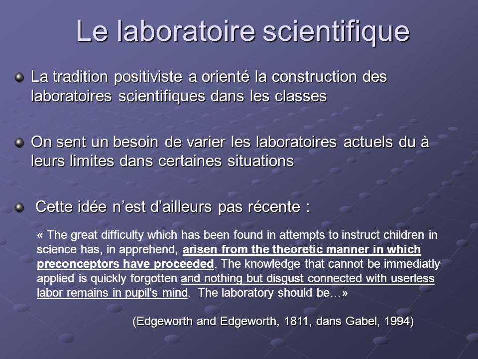 Le laboratoire scientifique Laboratoires fermés : démarche pré-établie dans un cahier, les hypothèses étant faites, on tente de vérifier, de démontrer une loi.