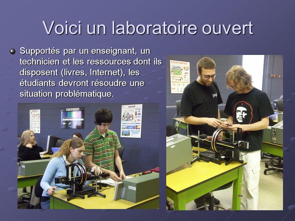 Voici un laboratoire ouvert Supportés par un enseignant, un technicien et les ressources dont ils disposent (livres, Internet), les étudiants devront résoudre une situation problématique.