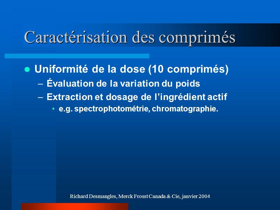 Richard Desmangles, Merck Frosst Canada & Cie, janvier 2004 Caractérisation des comprimés Dissolution –Évaluer le profil de dissolution de lagent actif Quantification par UV-Vis / chromatographie, etc.