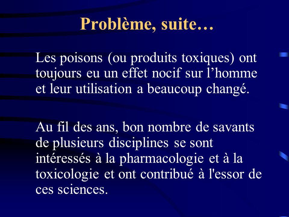 Problème, suite… Les poisons (ou produits toxiques) ont toujours eu un effet nocif sur lhomme et leur utilisation a beaucoup changé.