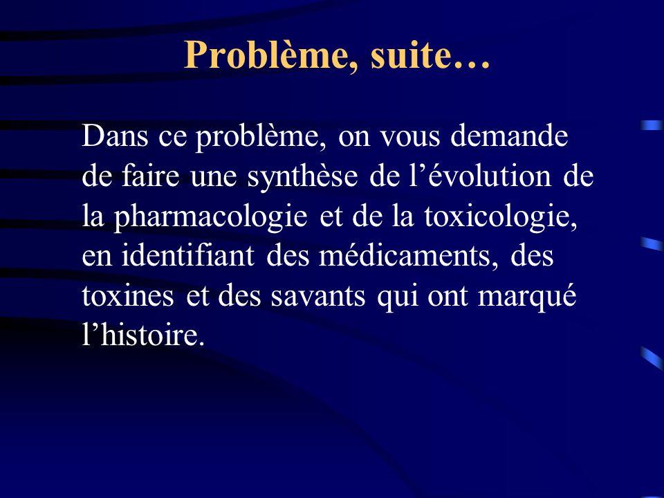 Problème, suite… Dans ce problème, on vous demande de faire une synthèse de lévolution de la pharmacologie et de la toxicologie, en identifiant des médicaments, des toxines et des savants qui ont marqué lhistoire.