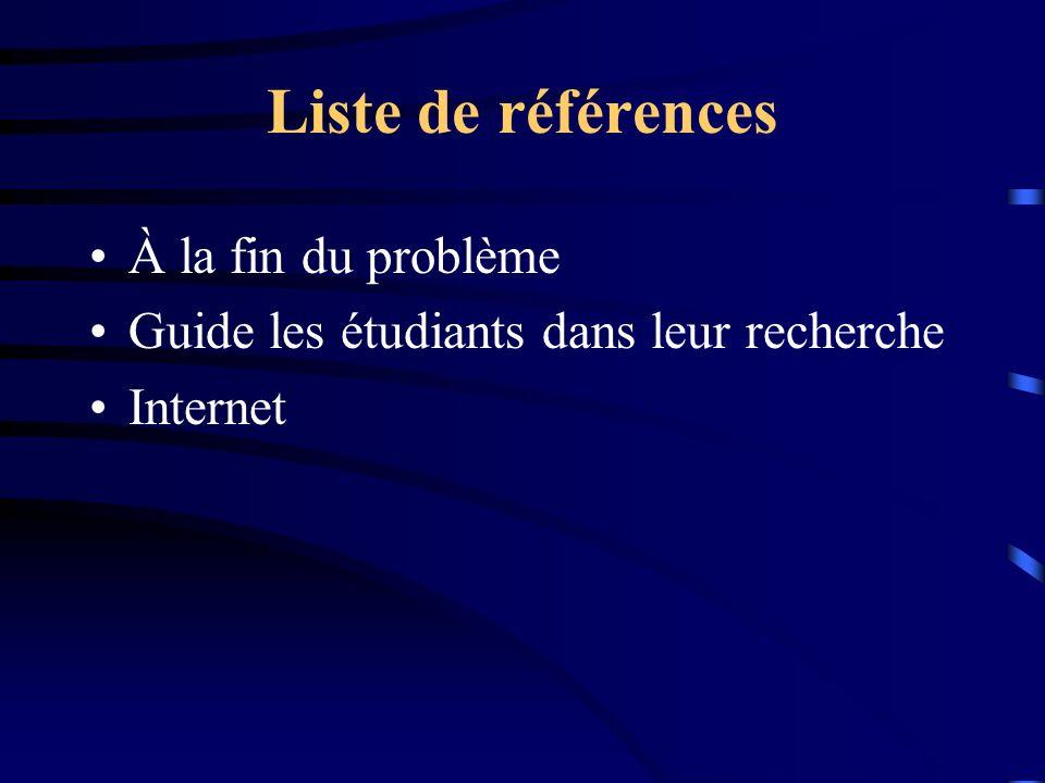 Liste de références À la fin du problème Guide les étudiants dans leur recherche Internet