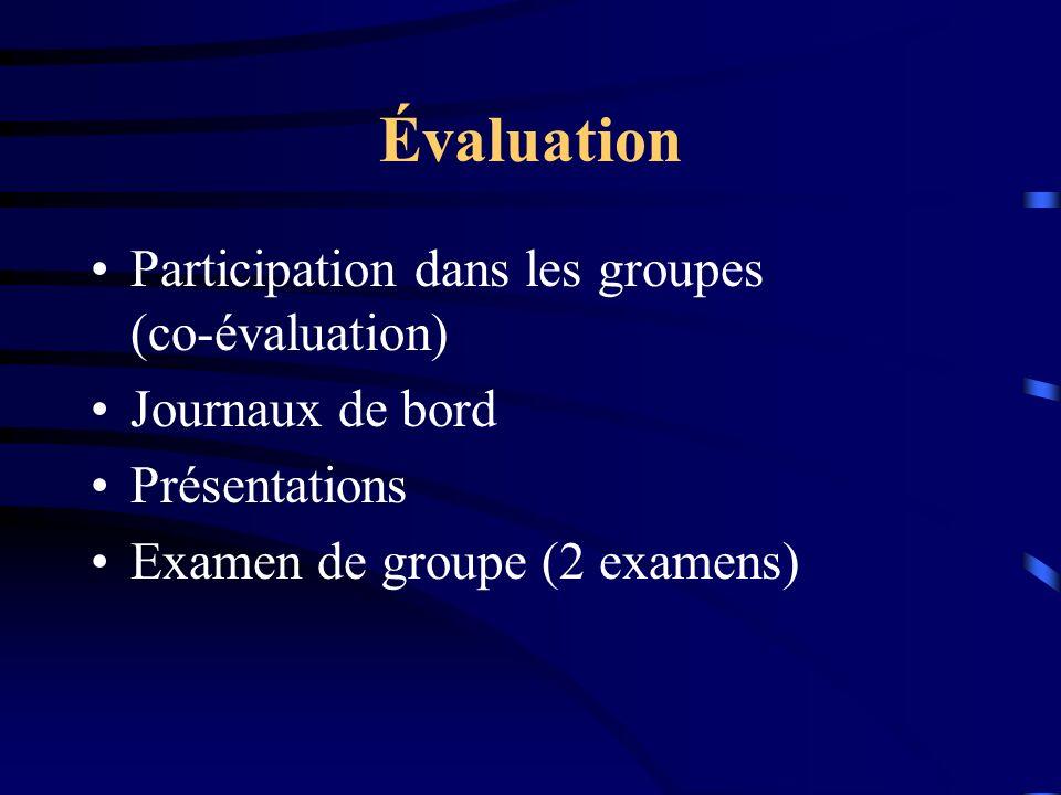 Évaluation Participation dans les groupes (co-évaluation) Journaux de bord Présentations Examen de groupe (2 examens)