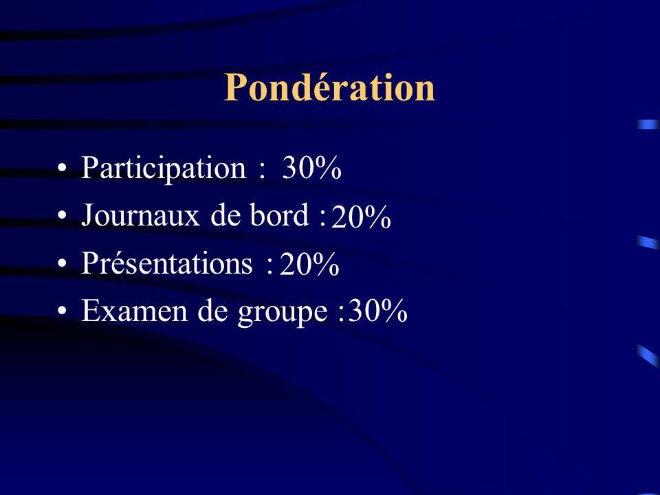 Pondération Participation : Journaux de bord : Présentations : Examen de groupe : 30% 20% 30%