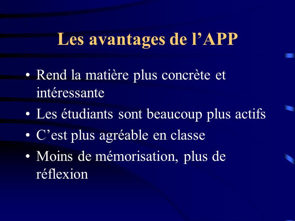 Les avantages de lAPP Rend la matière plus concrète et intéressante Les étudiants sont beaucoup plus actifs Cest plus agréable en classe Moins de mémorisation, plus de réflexion