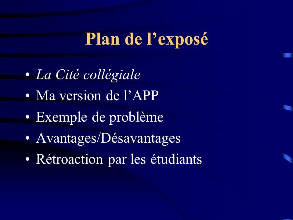 Plan de lexposé La Cité collégiale Ma version de lAPP Exemple de problème Avantages/Désavantages Rétroaction par les étudiants