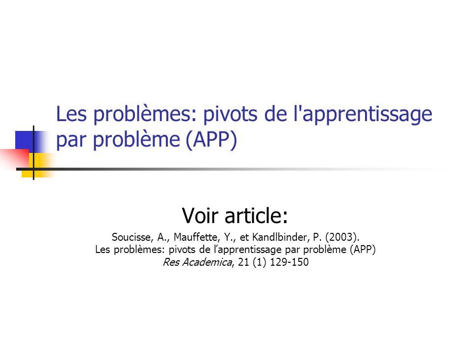 Les problèmes: pivots de l'apprentissage par problème (APP) Voir article: Soucisse, A., Mauffette, Y., et Kandlbinder, P. (2003). Les problèmes: pivot