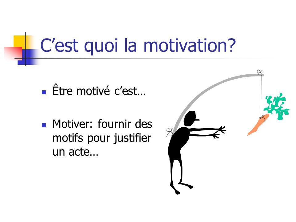 Cest quoi la motivation? Être motivé cest… Motiver: fournir des motifs pour justifier un acte…