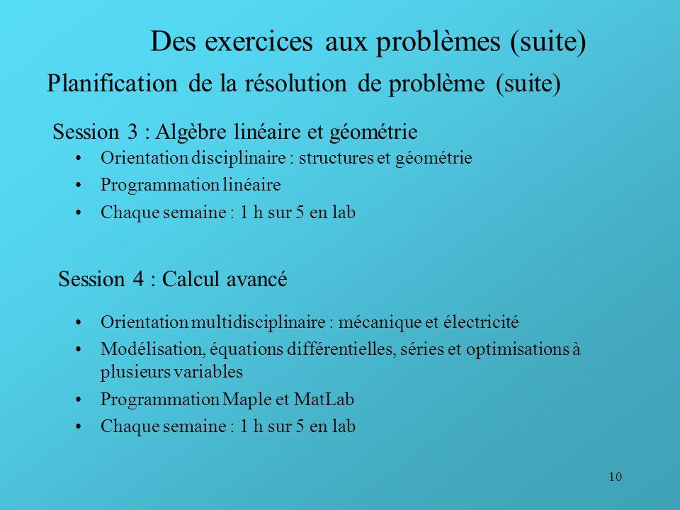 10 Des exercices aux problèmes (suite) Orientation disciplinaire : structures et géométrie Programmation linéaire Chaque semaine : 1 h sur 5 en lab Pl