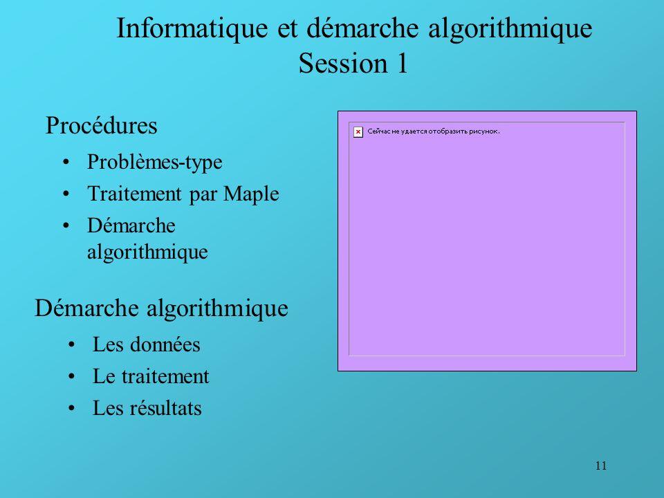 11 Informatique et démarche algorithmique Session 1 Problèmes-type Traitement par Maple Démarche algorithmique Procédures Démarche algorithmique Les d