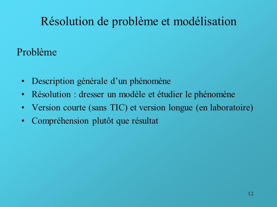 12 Résolution de problème et modélisation Description générale dun phénomène Résolution : dresser un modèle et étudier le phénomène Version courte (sa