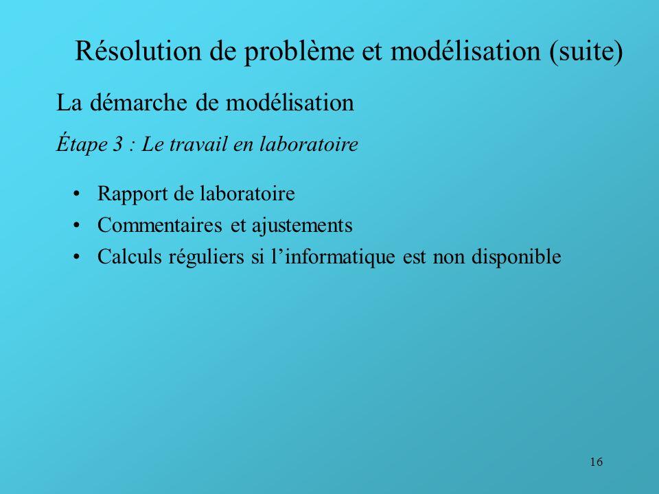 16 Résolution de problème et modélisation (suite) La démarche de modélisation Étape 3 : Le travail en laboratoire Rapport de laboratoire Commentaires