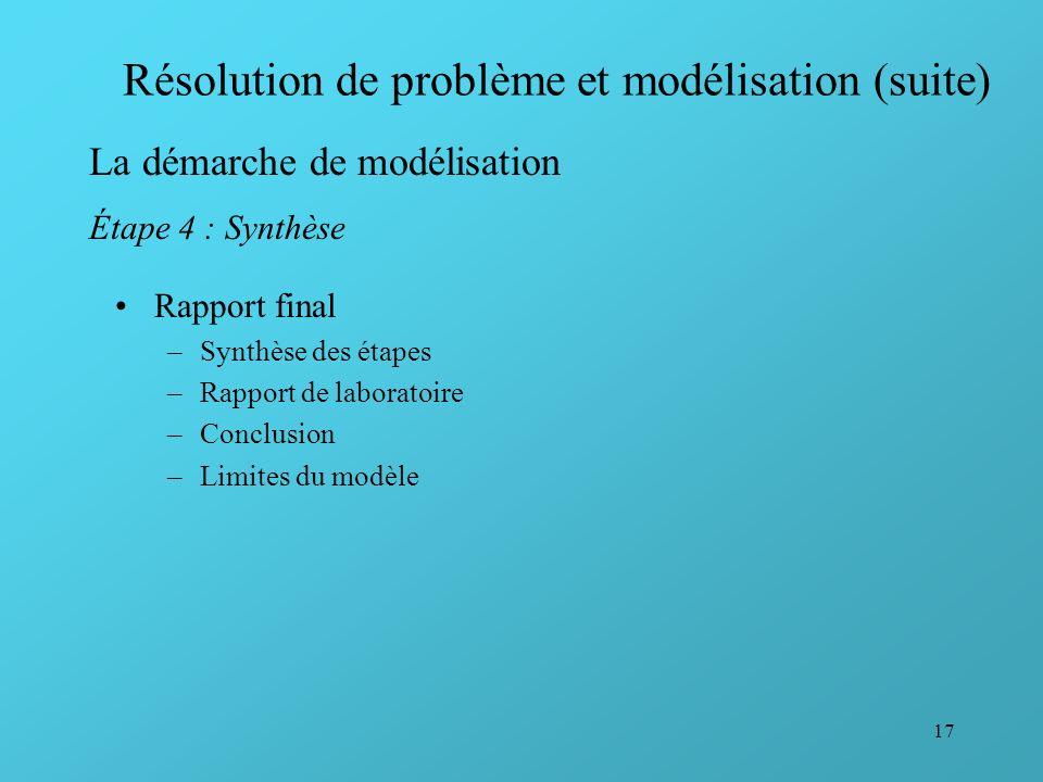 17 Résolution de problème et modélisation (suite) La démarche de modélisation Étape 4 : Synthèse Rapport final –Synthèse des étapes –Rapport de labora