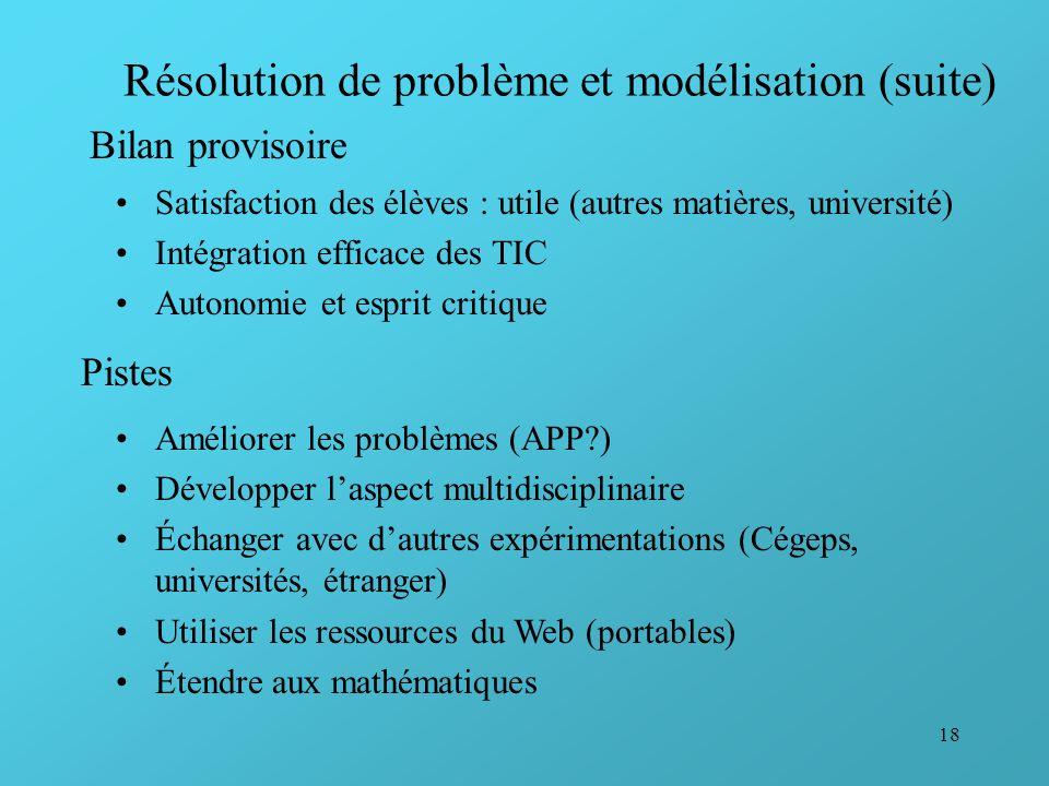 18 Résolution de problème et modélisation (suite) Bilan provisoire Satisfaction des élèves : utile (autres matières, université) Intégration efficace