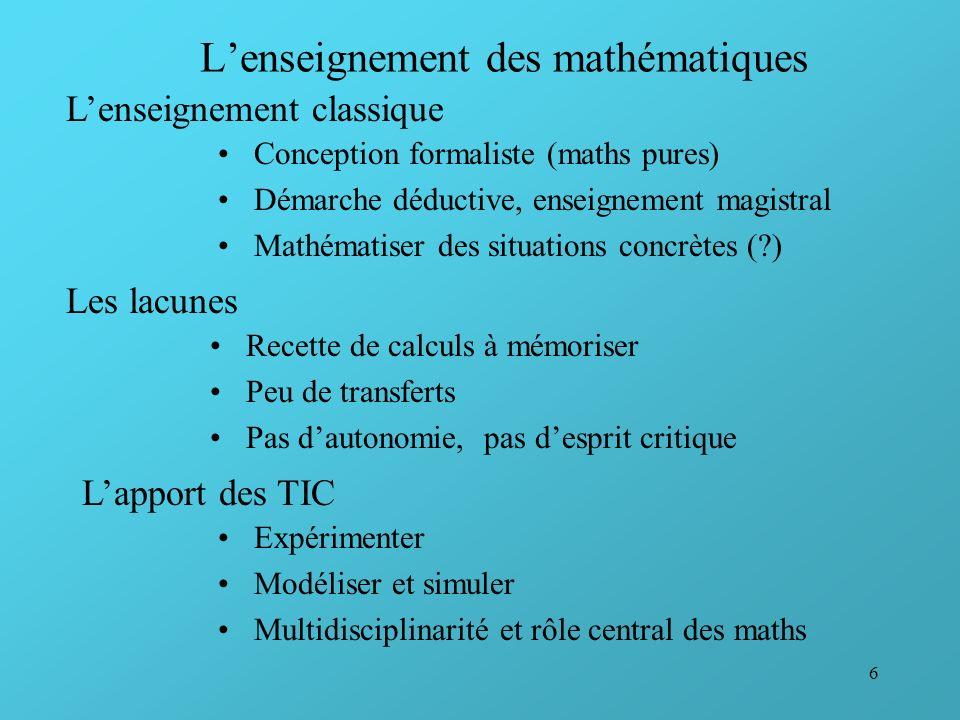 6 Lenseignement des mathématiques Conception formaliste (maths pures) Démarche déductive, enseignement magistral Mathématiser des situations concrètes