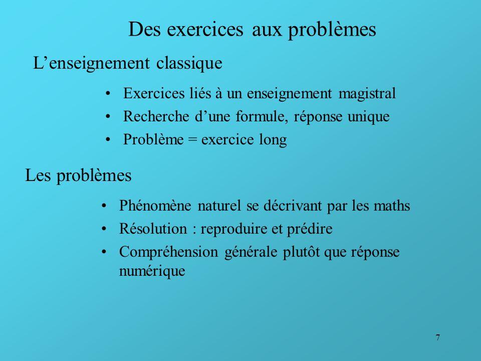 7 Des exercices aux problèmes Exercices liés à un enseignement magistral Recherche dune formule, réponse unique Problème = exercice long Lenseignement