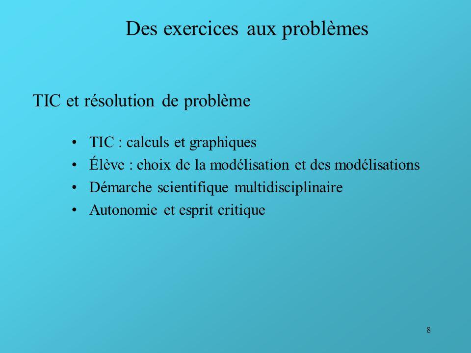 8 Des exercices aux problèmes TIC et résolution de problème TIC : calculs et graphiques Élève : choix de la modélisation et des modélisations Démarche