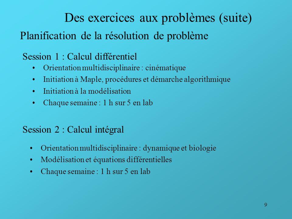 9 Des exercices aux problèmes (suite) Orientation multidisciplinaire : cinématique Initiation à Maple, procédures et démarche algorithmique Initiation