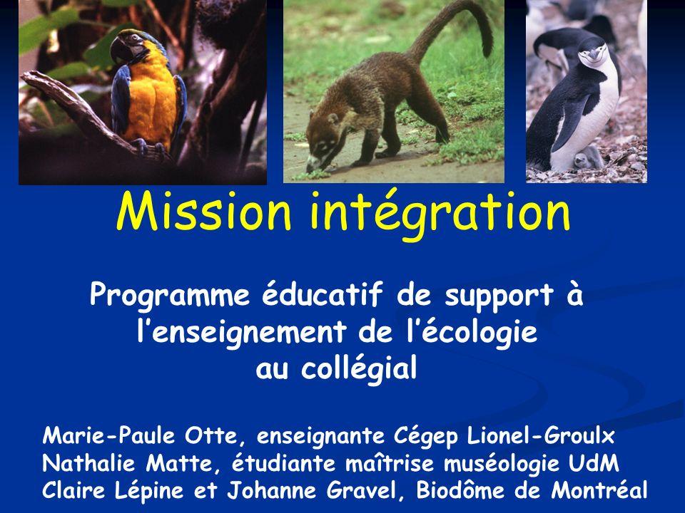 Mission intégration Programme éducatif de support à lenseignement de lécologie au collégial Marie-Paule Otte, enseignante Cégep Lionel-Groulx Nathalie