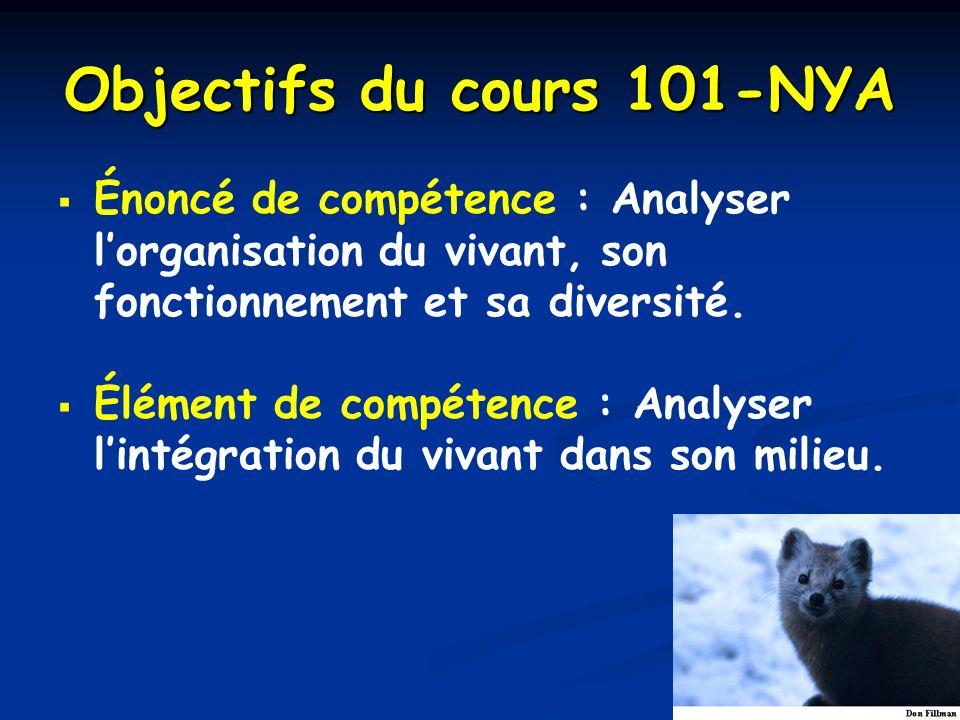 Objectifs du cours 101-NYA Énoncé de compétence : Analyser lorganisation du vivant, son fonctionnement et sa diversité. Élément de compétence : Analys