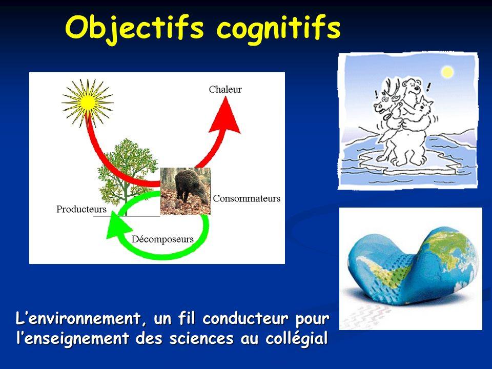 Lenvironnement, un fil conducteur pour lenseignement des sciences au collégial Objectifs cognitifs