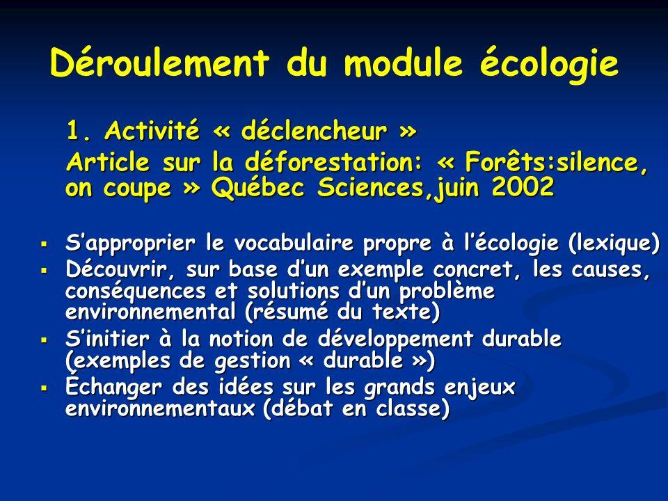 Déroulement du module écologie 1. Activité « déclencheur » Article sur la déforestation: « Forêts:silence, on coupe » Québec Sciences,juin 2002 Sappro