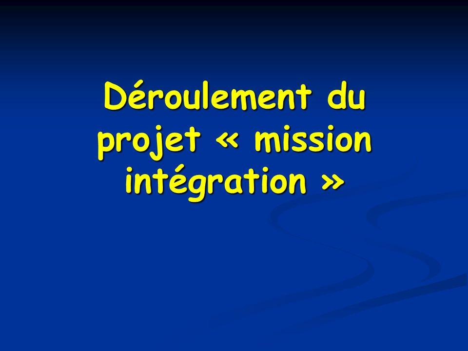 Déroulement du projet « mission intégration »